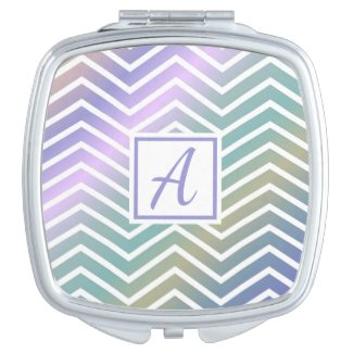 Custom Monogram Colourful Zig Zag Pattern Compact Mirror