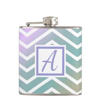 Custom Monogram Colourful Zig Zag Pattern Hip Flask