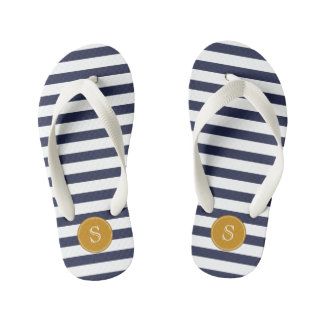 Custom Monogram Cool Navy Blue Stripes Flip Flops