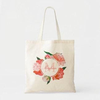 Custom Monogram   Coral Watercolor Flowers Tote Bag