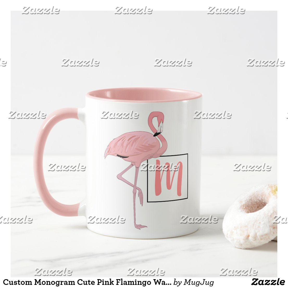 Custom Monogram Cute Pink Flamingo Watercolor Art Mug