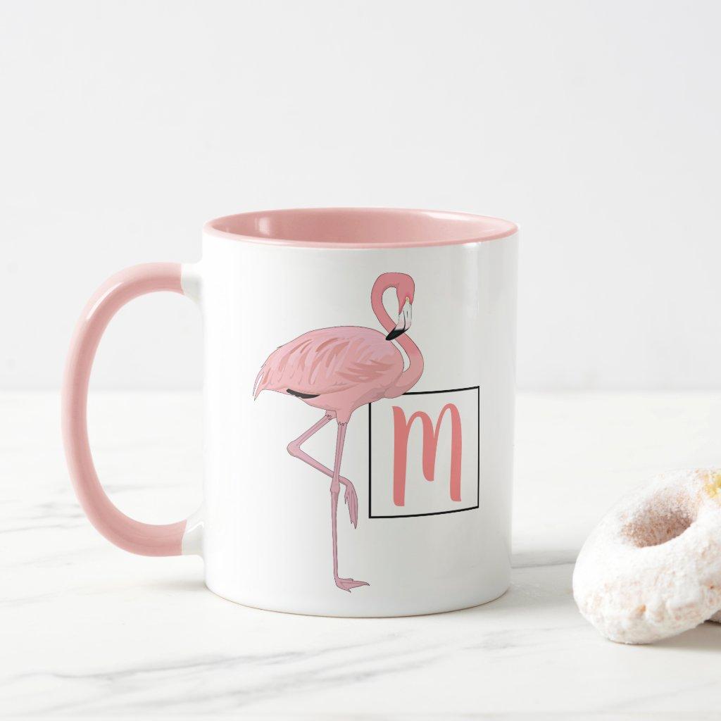 Custom Monogram Cute Pink Flamingo Watercolor Art Mug