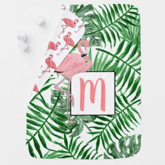 Custom Monogram Cute Pink Flamingo Watercolor Baby Blanket