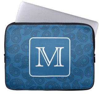 Custom Monogram. Dark Blue Paisley Pattern. Laptop Sleeve