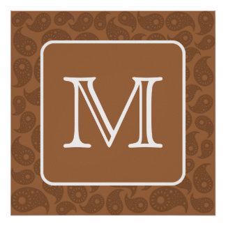 Custom Monogram. Dark Brown Paisley Pattern. Poster