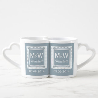 Custom monogram, date & color wedding mugs