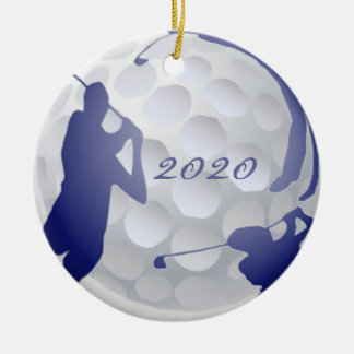 Custom Monogram Dated Golf Sport Hobby Christmas Ornament