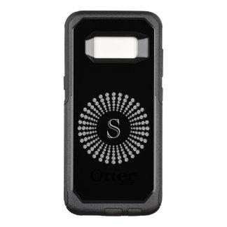 Custom Monogram Diamonds Black and White OtterBox Commuter Samsung Galaxy S8 Case
