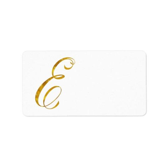 Custom Monogram E Faux Gold Foil Monograms Initial Address Label