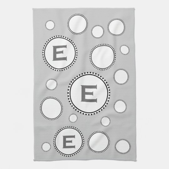 Custom Monogram E or Any Initial SILVER Circles