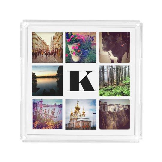 Custom Monogram Eight Instagram Photo Tray