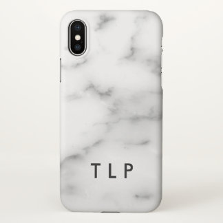 Custom monogram elegant white marble stone iPhone x case