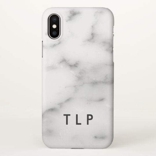 Custom monogram elegant white marble stone iPhone x