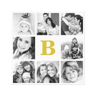 Custom Monogram Family Photo Collage Canvas