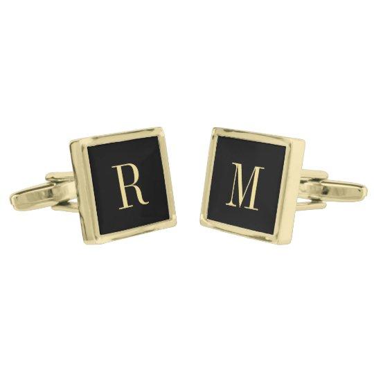 Custom Monogram Fathers Day Wedding Mens Cufflinks Gold Finish Cufflinks