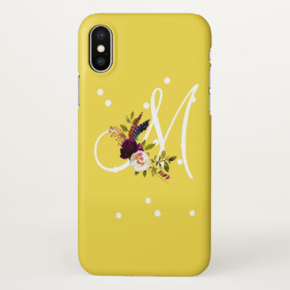 Custom Monogram Floral Bouquet Gift iPhone X Case