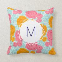 Monogram Floral Pillow
