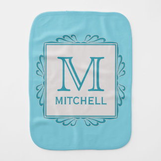 Custom Monogram Frame Pattern baby burp cloth