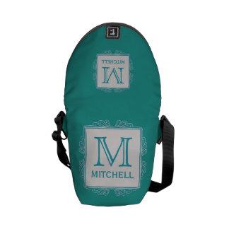 Custom Monogram Frame Pattern messenger bags
