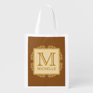 Custom Monogram Frame Pattern reusable bag