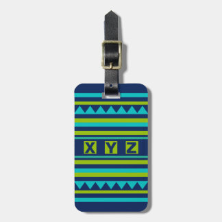 Custom Monogram Geometric pattern luggage tag