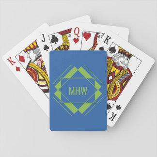 Custom Monogram Geometric Pattern playing cards