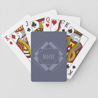 Custom Monogram Geometric Pattern playing cards