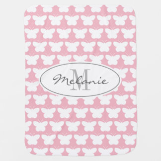 Custom monogram girly pink butterfly baby blanket