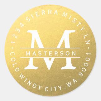 Custom Monogram Gold Circular Return Address Label Round Sticker