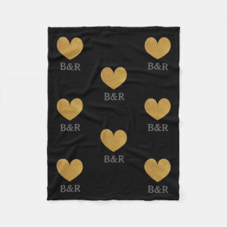 Custom monogram gold glitter heart fleece blanket