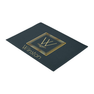 Custom Monogram Gold on Darkest Blue Doormat