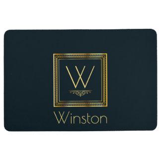 Custom Monogram Gold on Darkest Blue Floor Mat