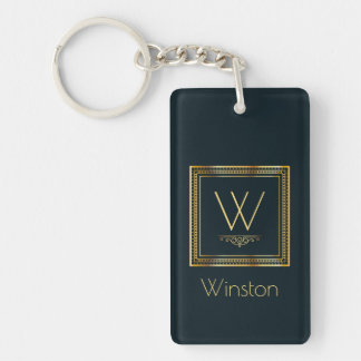 Custom Monogram Golden on Dark Blue Key Ring