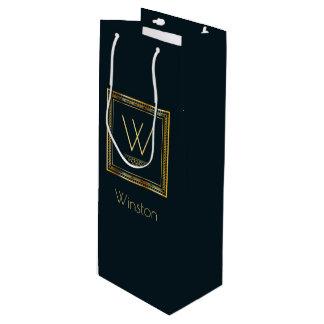 Custom Monogram Golden on Dark Blue Wine Gift Bag