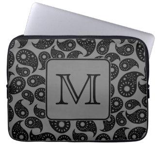 Custom Monogram. Gray and Black Paisley Pattern. Laptop Sleeve