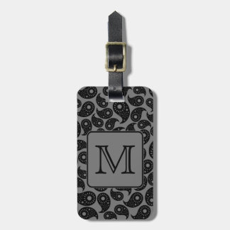 Custom Monogram. Gray and Black Paisley Pattern. Luggage Tag