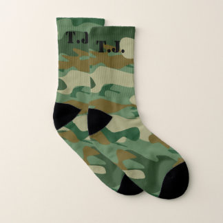 Custom monogram green army camo camouflage socks 1