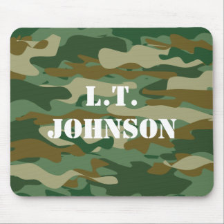 Custom monogram green army camouflage mouse pad