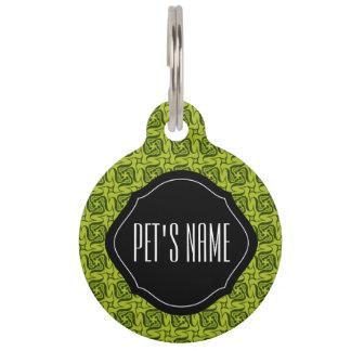Custom monogram green pattern pet name tag