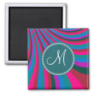Custom Monogram Groovy Magenta Blue Stripes Magnet