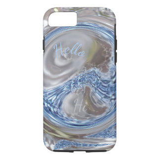Custom Monogram HI Silver Blue Gray Elegant Art iPhone 8/7 Case