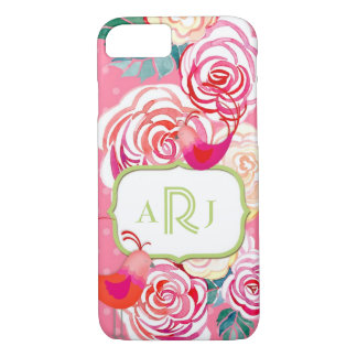 Custom Monogram Hipster Birds Paisley Floral Print iPhone 8/7 Case