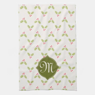 Custom Monogram Holly Christmas Kitchen Towel