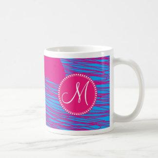 Custom Monogram Hot Pink Blob on Blue Abstract Art Basic White Mug
