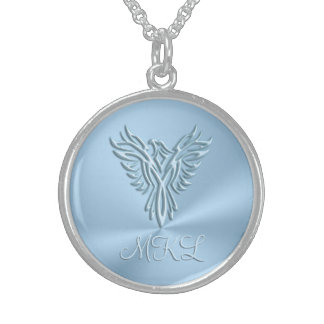Custom monogram - Ice-blue Phoenix Rising Sterling Silver Necklace