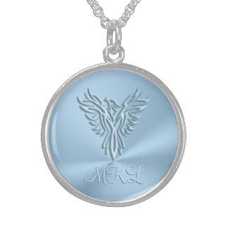 Custom monogram - Ice-blue Phoenix Rising Sterling Silver Necklace