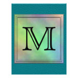 Custom Monogram Image on Teal Pattern. Flyer Design