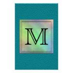 Custom Monogram Image on Teal Pattern. Custom Flyer