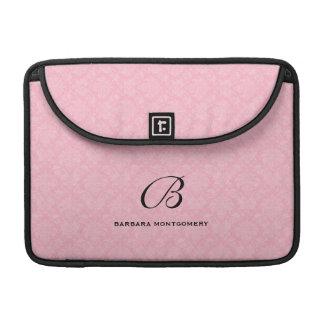 Custom Monogram in Pink Damask MacBook Pro Sleeves