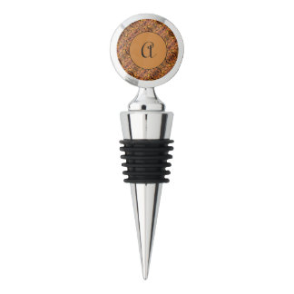 Custom Monogram Initial Autumn Pattern Wine Stopper